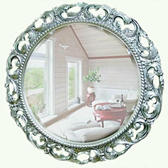 Круглое зеркало в раме «Мишель» Серебро в интернет-магазине ROSESTAR фото
