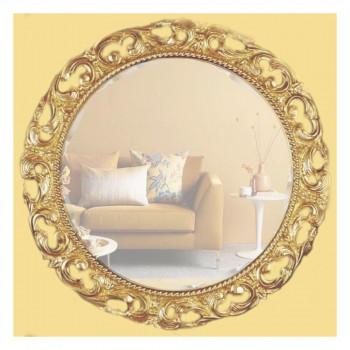 Круглое зеркало в раме «Мишель» Светлое Золото