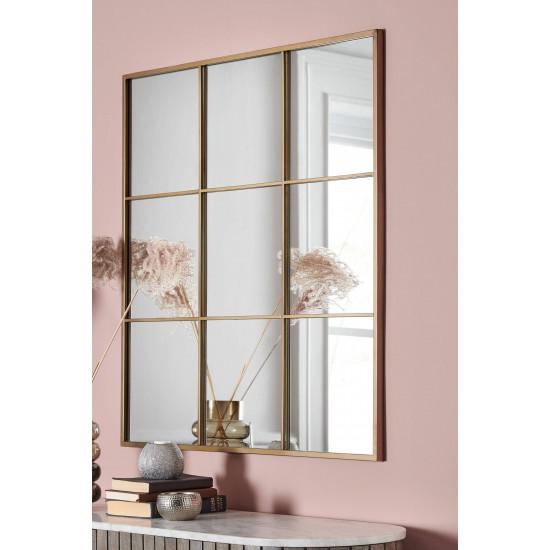 Квадратное зеркало-окно в раме Флетчер Золото в интернет-магазине ROSESTAR фото