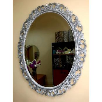 Овальное настенное зеркало в раме Liria Серебро с белой патиной