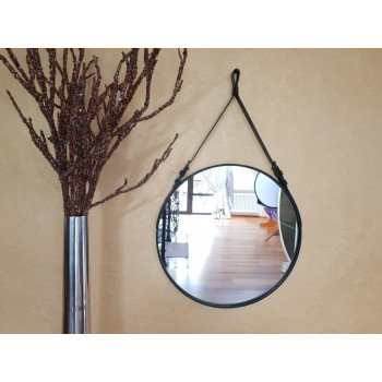 Круглое зеркало на ремне из натуральное кожи Миллениум Блэк