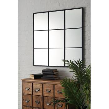 Квадратное зеркало-окно в раме Флетчер Черное