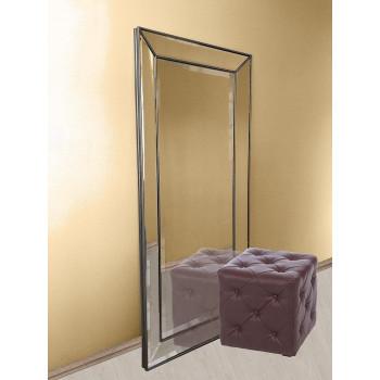 Зеркало большое напольное и настенное в полный рост в зеркальной раме «Ричард» Античное Серебро