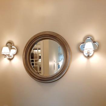 Круглое дизайнерское настенное зеркало в серебряной раме Римма