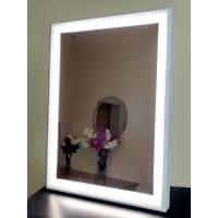 Зеркало в деревянной раме с LED подсветкой Axl Белое