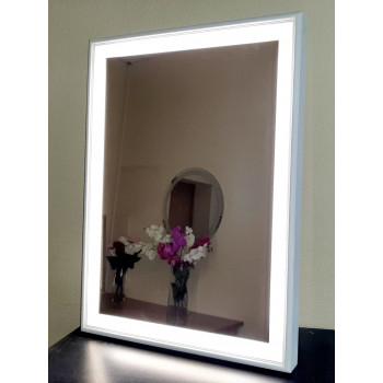 Зеркало в деревянной раме с LED подсветкой Эксл Роуз Белое