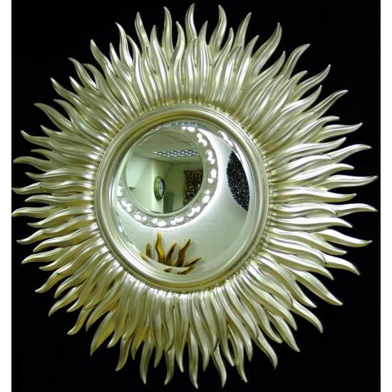 Зеркало солнце с лучами «Маргарита» Серебро-Шампань  в интернет-магазине ROSESTAR фото