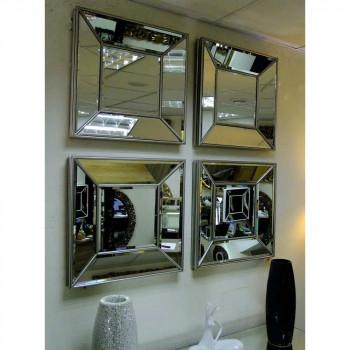 Венецианское зеркальное панно «Кристалл» Античное серебро