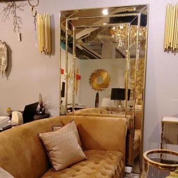 Венецианское большое зеркало «Лувр» в зеркальной раме Античное Золото