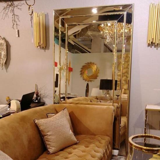 Венецианское большое напольное и настенное зеркало «Лувр» в зеркальной раме Античное Золото в интернет-магазине ROSESTAR фото
