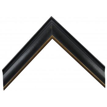 Деревянный багет Черный с золотом А-В100350
