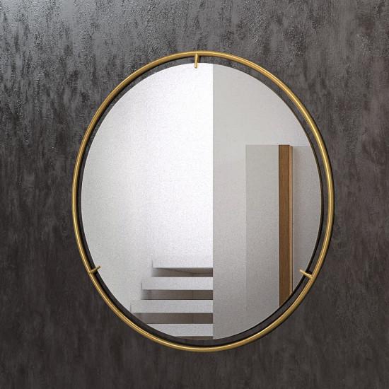 Круглое зеркало в раме из латуни Нимбус в интернет-магазине ROSESTAR фото