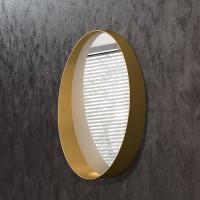 Круглое зеркало с полкой в раме из латуни Юнион