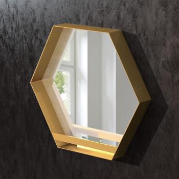 Шестиугольное зеркало в раме из латуни Гексагон