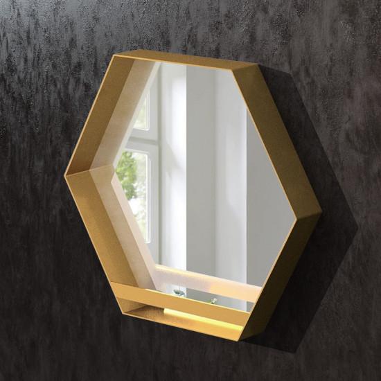 Шестиугольное зеркало в раме из латуни Гексагон в интернет-магазине ROSESTAR фото