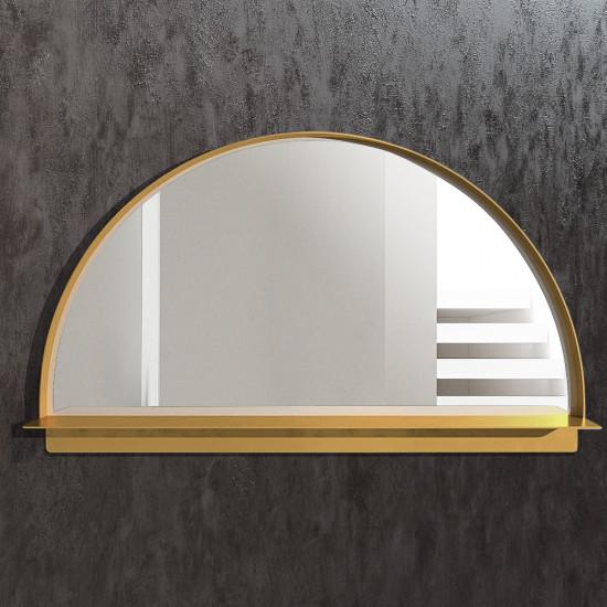 Полукруглое зеркало в латунной раме с полкой Хэттон в интернет-магазине ROSESTAR фото