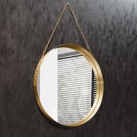 Круглое зеркало на цепочке в латунной раме Лилиана