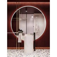 Большое круглое зеркало с подсветкой в черной металлической раме Инфинити