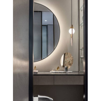 Полукруглое зеркало с подсветкой в черной раме Китана