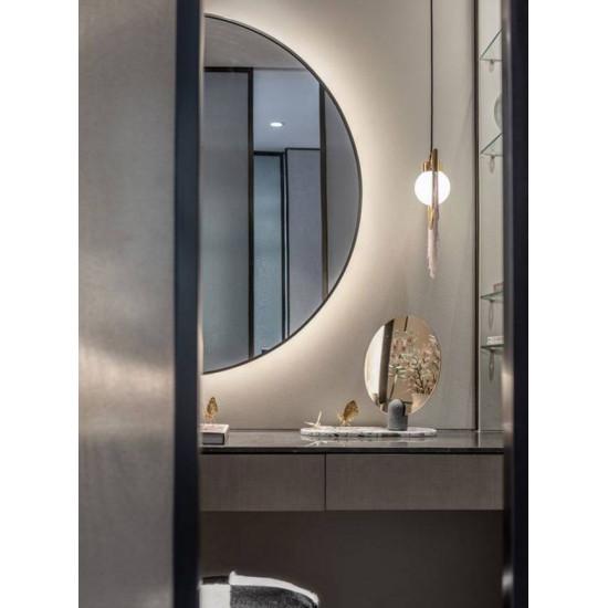 Полукруглое зеркало с подсветкой в черной раме Китана в интернет-магазине ROSESTAR фото