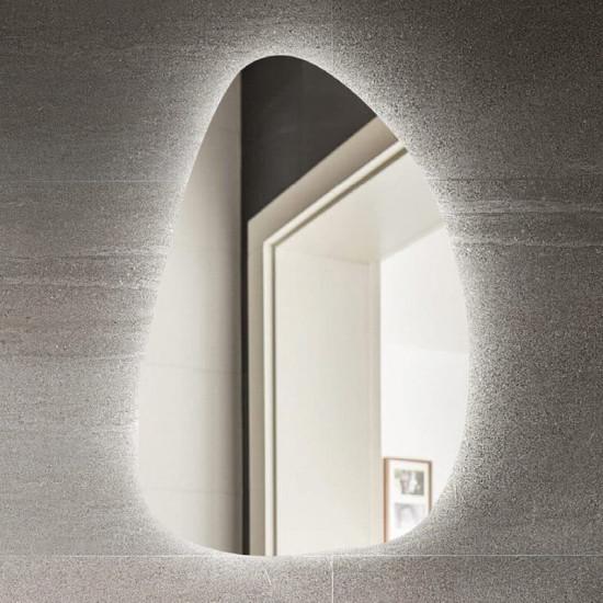 Фигурное дизайнерское зеркало в виде капли с подсветкой Нелиа