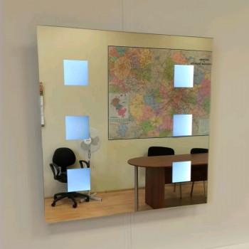 Квадратное зеркало с LED подсветкой Астор