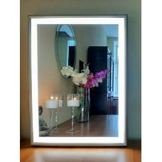Зеркало в деревянной раме с LED подсветкой Эксл Роуз Тёплое серебро