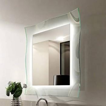 Зеркало на стеклянном основании с подсветкой Люмьер
