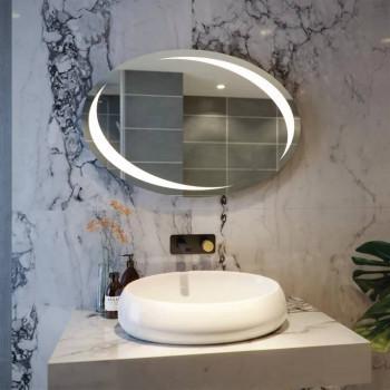 Овальное настенное зеркало со светодиодной LED-подсветкой Марион