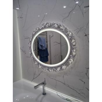 Овальное настенное зеркало в серебряной раме с подсветкой Liria