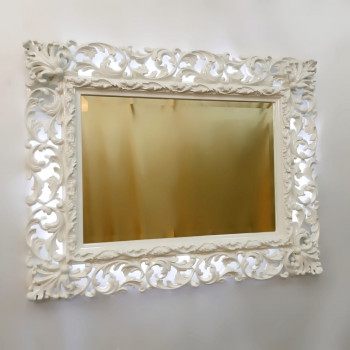 Зеркало настенное с подсветкой в раме Эмилия Слоновая кость