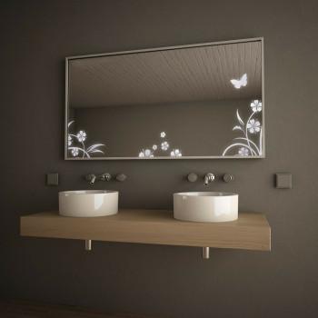 Зеркало с подсветкой в алюминиевой раме Весна