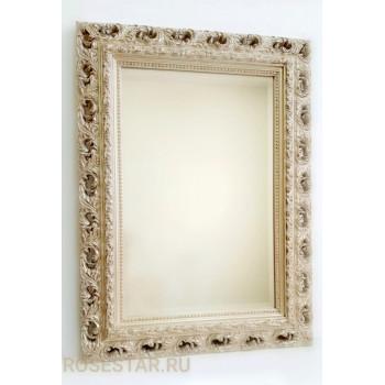 Зеркало прямоугольное настенное в багете «Реймс» Серебро Шампань