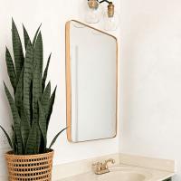 Зеркало в золотой металлической раме Айрон