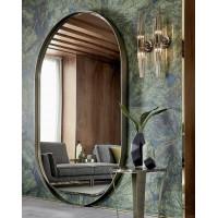 Овальное зеркало в металлической раме оливкового цвета Оливьер