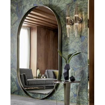 Овальное большое зеркало в полный рост в металлической раме оливкового цвета Оливьер