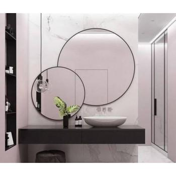 Двойное круглое зеркало в черной металлической раме Амалия