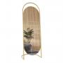 Овальное напольное зеркало на подставке в золотой металлической раме Элва