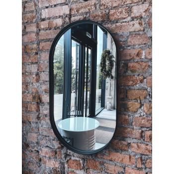 Овальное зеркало-капсула в черной металлической раме Оникс