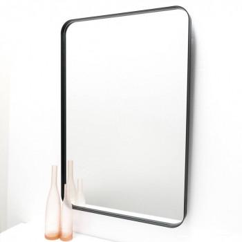 Прямоугольное зеркало с закругленными углами в черной металлической раме Сиена