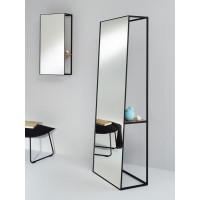 Напольное зеркало с полкой на черном металлическом каркасе Армандо