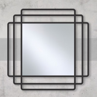Квадратное зеркало в металлической черной раме Дион