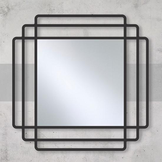 Квадратное зеркало в металлической черной раме Дион в интернет-магазине ROSESTAR фото