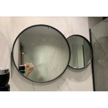 Двойное круглое зеркало в черной металлической раме Элин