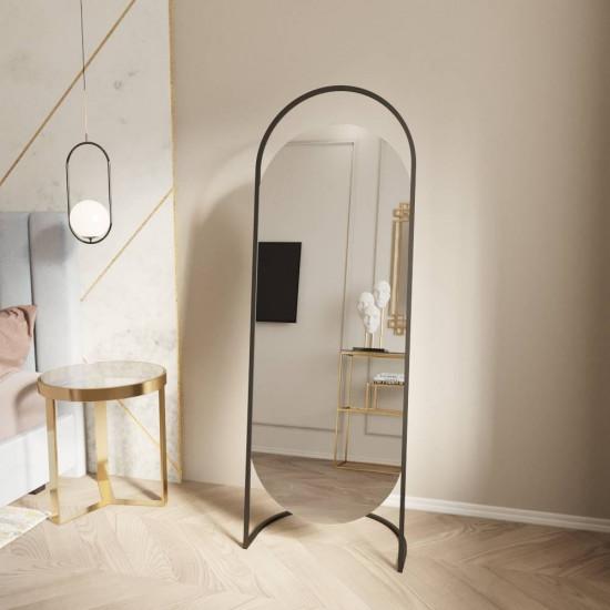 Овальное напольное зеркало на подставке в черной металлической раме Элва в интернет-магазине ROSESTAR фото
