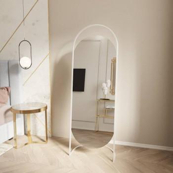 Овальное напольное зеркало на подставке в белой металлической раме Элва