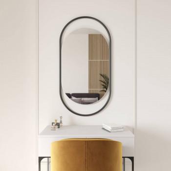 Овальное зеркало в черной металлической раме Эвелин