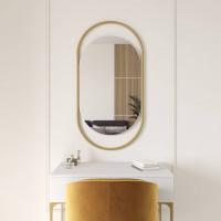 Овальное зеркало в золотой металлической раме Эвелин