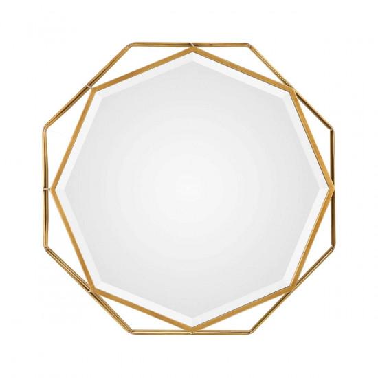 Многоугольное зеркало в золотой металлической раме Фиала