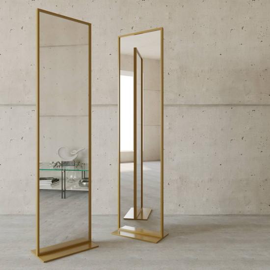 Напольное зеркало в полный рост в металлической золотой раме Итан